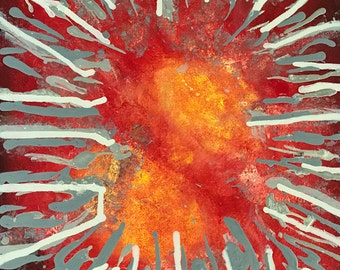 Sunburst, modern, abstract painting, red/yellow/grey