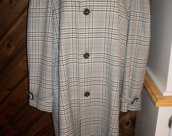 Vintage LONDON FOG Plaid Check Trench Coat Maincoats IMAGITEX Size 42 Reg 60's