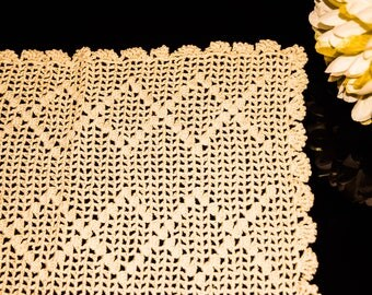 Crocheted Lace Tablecloth, Handmade Home Decor, Crochet pattern, Vintage Crochet lace, Rectangular Tablecloth ; Hand Sewn Vintage Tablecloth