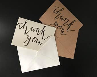 Hand Lettered Thank You Cards Pack of 5| Calligraphy Thank You Cards