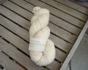 125gm Hand-Spun 4ply wool. No dyes, bleaches, fillers or solvents. All from one fleece. Min of 220 metres length.