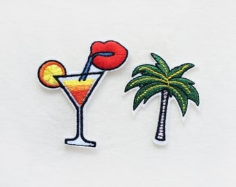 2x Palm tree + Cocktail PATCH Iron On Embroidered Applique tropical sunrise summer vacation farniente beach diy custom craft  project