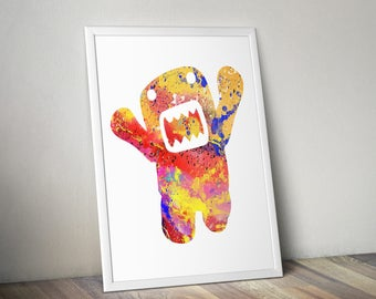 Domo Kun Watercolor Print Nursery Art, Japan Art, Children, Wizard, Illustration, Painting, Watercolour, Wall, Kid, Home Decor