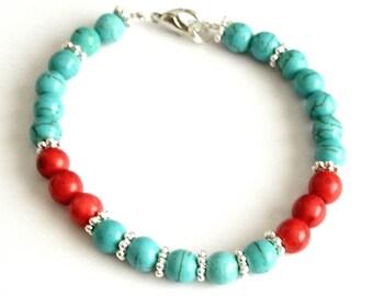 Bracelet friendship coral minimalist red white howlite Tibet Tibetan silver Bangle silver clasp