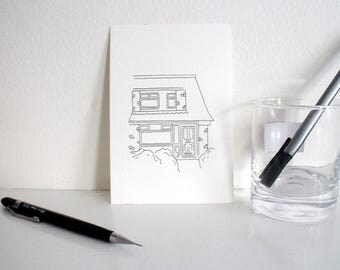 Completely Personalised Hand Drawn House Postcard
