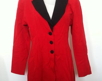 Vintage Womens Creme Red Chiffon Jacket / Party / Special Occasions / Size 12