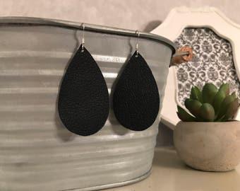 Navy blue leather teardrop earrings