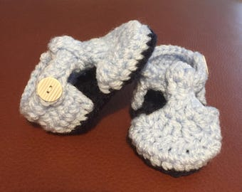 Chunky Blue T-Bar Baby Shoes