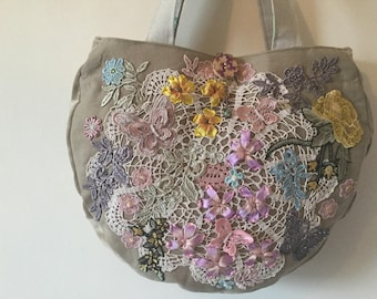 OOAK Bag, Vintage doily, Silk ribbon embroidered, Bag...Lots of detail !