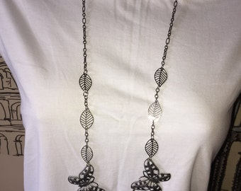 Antiqued Silver Butterfly And Leaf Necklace