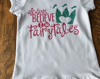 Princess Shirt, Girls Tshirt with puff sleeve and ruffle hem, Always believe in fairytales, Castle Shirt, Vacation shirt