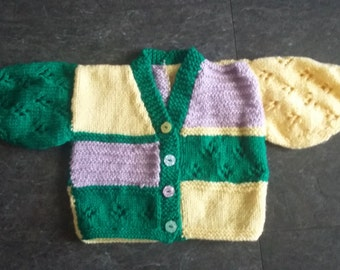 Handknitted multi-coloured girls v neck cardigan in size 3-6 months