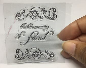 True Friend Stamp Set / Scrapbooking / Card Making Supplies / Clear Stamp Set / Friendship  Stamp / Stamp Set