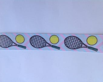 "7/8""  Tennis inspired Grosgrain Ribbon  -  By The Yard"