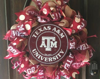 Texas A&M Wreath, Aggies, Whoop, Maroon, White, Football, Graduation, Deco Mesh/Decomesh