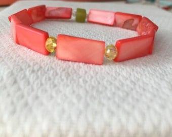 Salmon Pink Red Bracelet