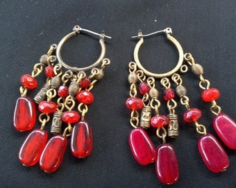 Vintage Gold and Red Beaded Drop Earrings, Bohemian style, 60s