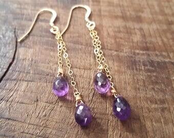 Gold Amethyst Earrings, Amethyst Jewelry, Dangle Earrings, Drop Earrings, Gold Filled Earrings, Amethyst Earrings, February Birthstone