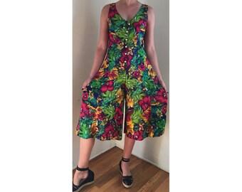 Floral Jumpsuit/ Vintage Jumpsuit/ Hawaiian Print Jumpsuit/ Floral Romper/ Palazzo Pants/ Onesie/ Floral Dress