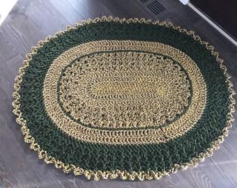 "Crochet Oval Rug 44""x36"""