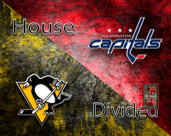 House Divided Hockey, House Divided, House Divided Capitals, House Divided Penguins, Hockey Man Cave, House Divided Gift