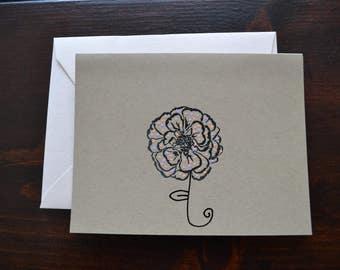 Blank Handmade Flower Greeting Card