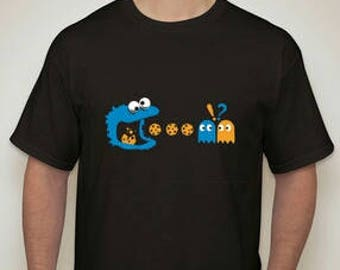 Kid's and Adult Cookie Monster PAC Man Black T-Shirt