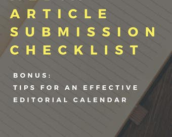 Content Marketing Article Submission Checklist
