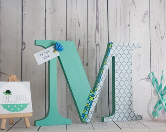 Freestanding wooden letter, Wooden initial, new baby gift, baby shower, nursery decor, christening gift, personalised gift.