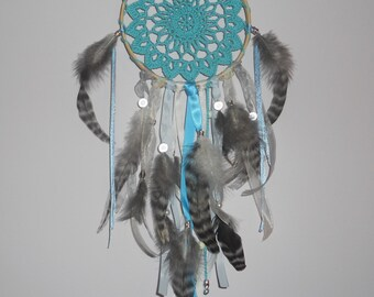 Dream catcher blue turquoise on half of drum to embroider