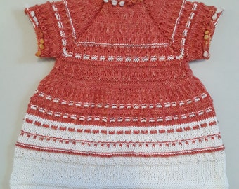 Orange and White Cotton Short-sleeved Cotton Dress for a  Toddler