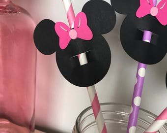 Minnie Mouse straw toppers