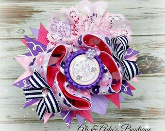 Daddy's Girl Hair Bow, Lavender Floral Bow, Girls Hair Bow Accessory