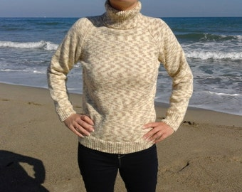 Sweater Turtleneck woman beige and light brown shaded