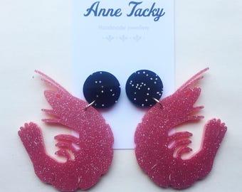 GIANT prawns MERMAID earrings laser cut acrylic pink glitter dangle earrings  tacky festival wear kitsch retro style