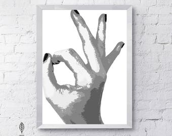 O.K | Eco-friendly Printable Art Instant Download. Black and White Modern Minimalist Print. Fashion Wall Art Poster.