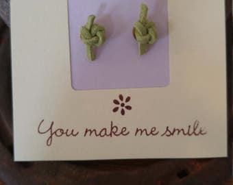 Moss Leather Knot Earrings