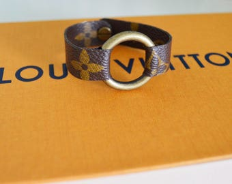 Louis Vuitton Monogram Canvas Small Ring Cuff Bracelet, Handmade,Repurpose, Recycle, Upcycle
