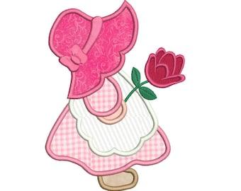 Sun Bonnet Sue Applique Embroidery Design, SunBonnet Sue Machine Embroidery, 4x4, 5x7, 6x10, Girl's Embroidery, Instant Download No: FA539-8