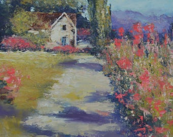 landscape painting Home In Flowering Field