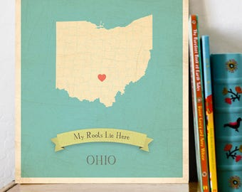 Ohio Roots Map 11x14 Customized Print