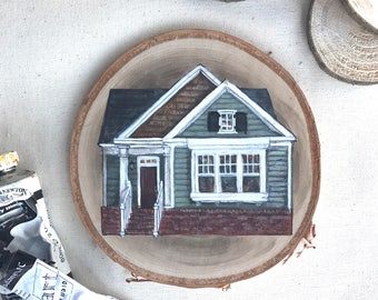 House Painting on Wood Slice
