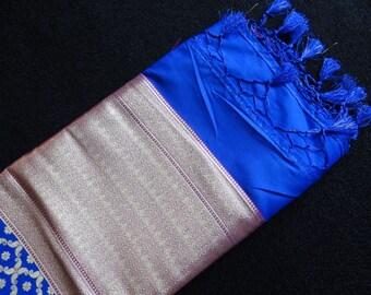 Indian Benaras Handloom Silk Dupatta (Silk Shawl) , Blue color, Luxury Fabric, Light Weight