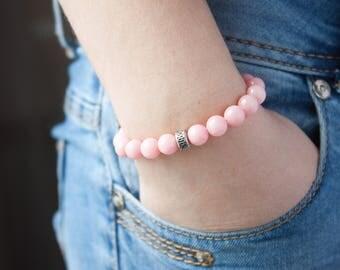 Stacking Flamingo Pink Bracelet Love Bracelet Dream Bracelet Sister Bracelet Girly Bracelet Stacked Boho Bracelet Minimalist Dainty Bracelet