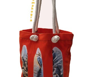 Feather Acrylic Painted on Cotton Canvas Tote Bag - Tote Bag - An Original Painted - Handmade Tote Bag