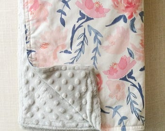 Watercolor Florals Baby Blanket| minky baby blanket, floral baby blanket, pink baby blanket, nursery blanket, baby shower gift