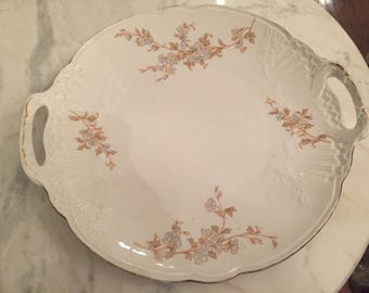 Austrian Platter with Handles with Violet Flowers and Gold Trim