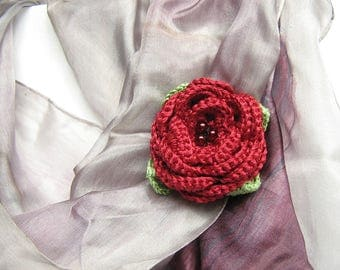 Crochet flower brooch Crochet rose Rose brooch Red flower brooch Cotton flower Crochet brooch Gift brooch Flower pin brooch