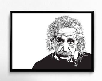 Albert Einstein Art Print - Super Detailed Giclee Print of Theoretical Physicist Albert Einstein - Multiple Sizes and Colors
