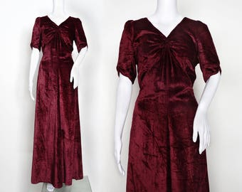 1930s Burgundy Silk Velvet Dress